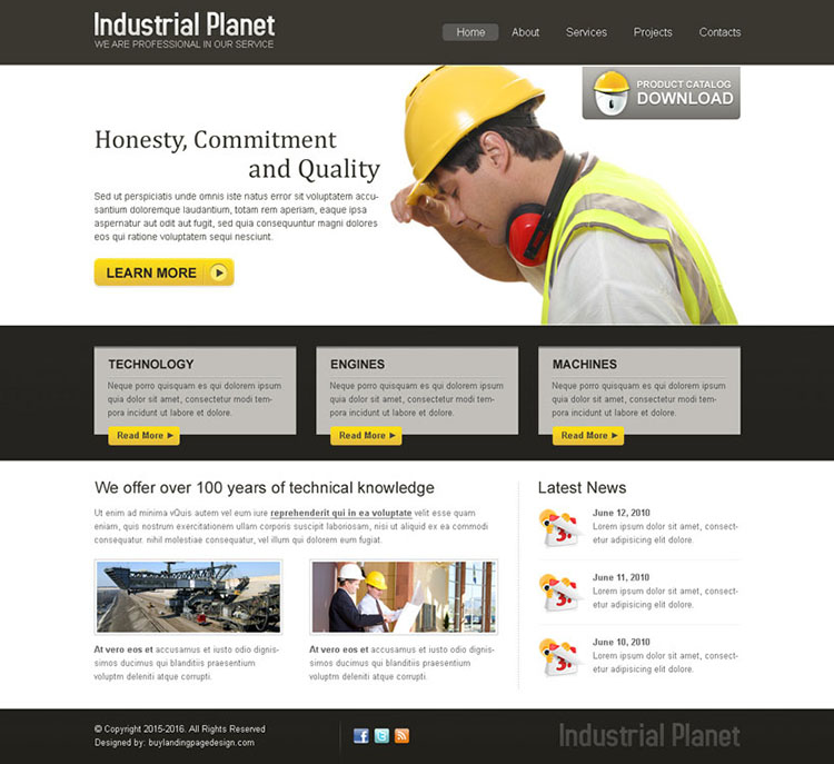 industrial planet clean and simple website template design psd
