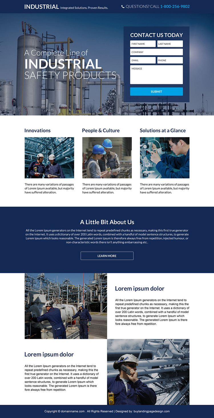industrial safety products responsive landing page design