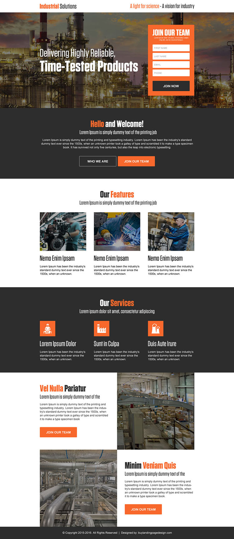 industrial solutions lead generating landing page