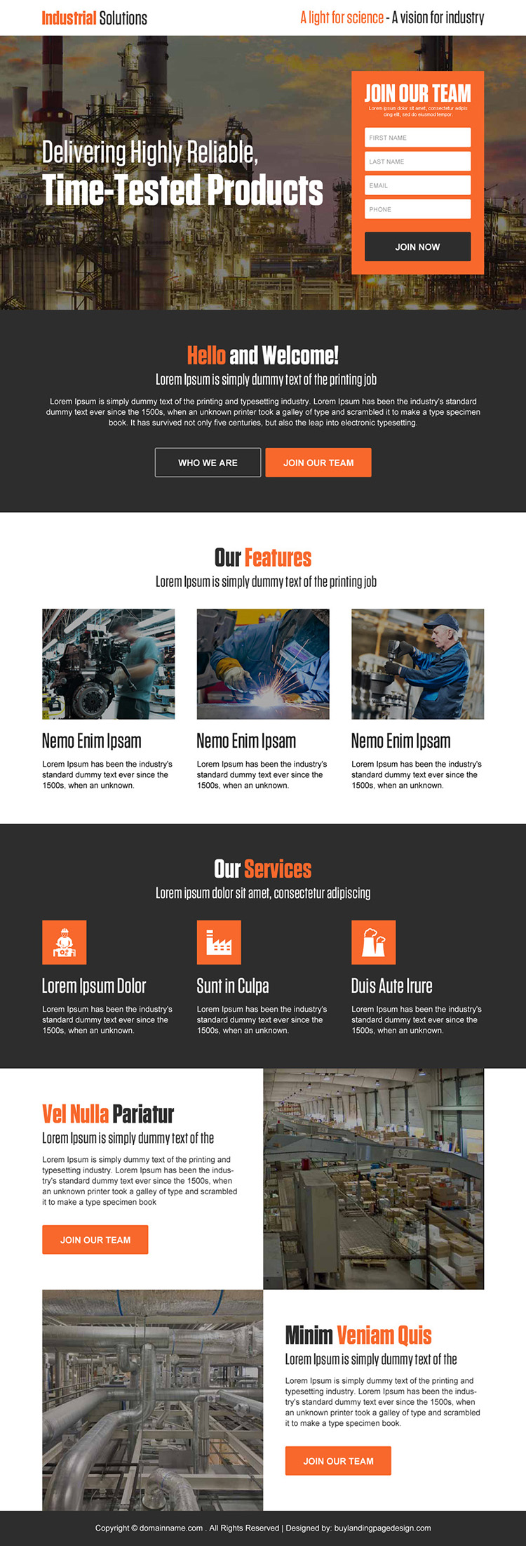 industrial solutions sign up capturing responsive landing page design