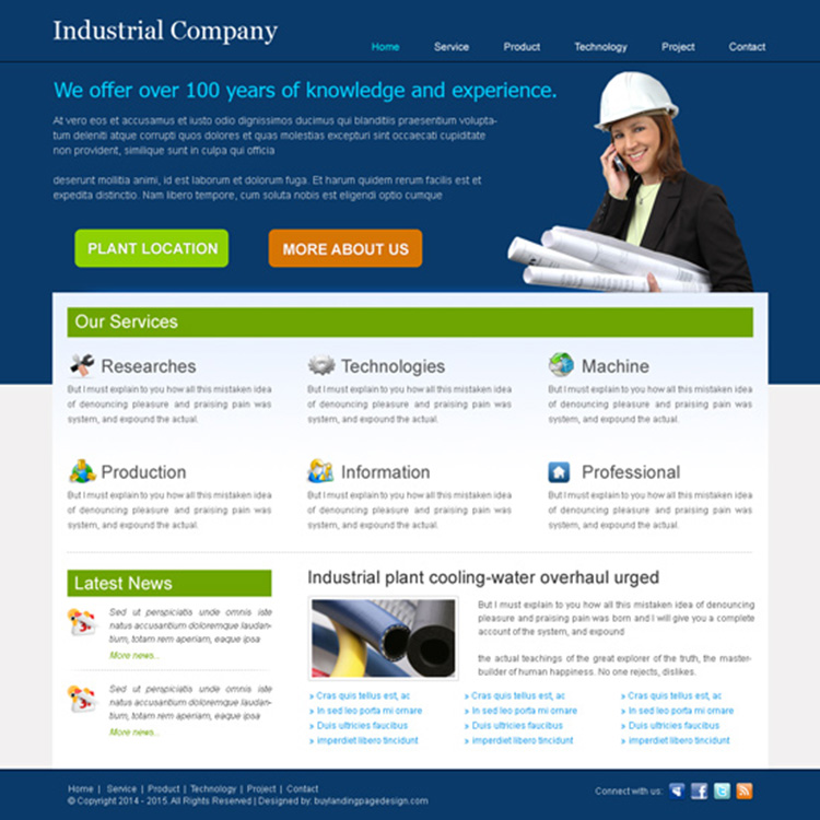 best industrial website template design psd for your industrial website