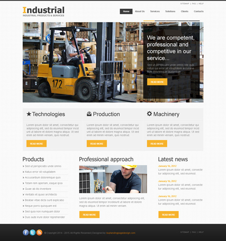 clean and attractive website template design psd to create your industry online website