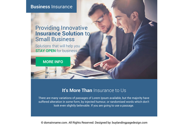 innovative business insurance ppv landing page design