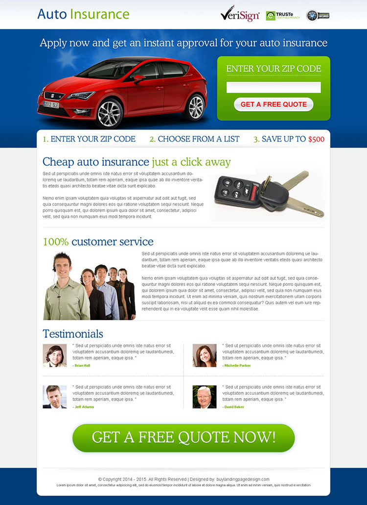 get instant approval on your auto insurance zip capture lead gen page design