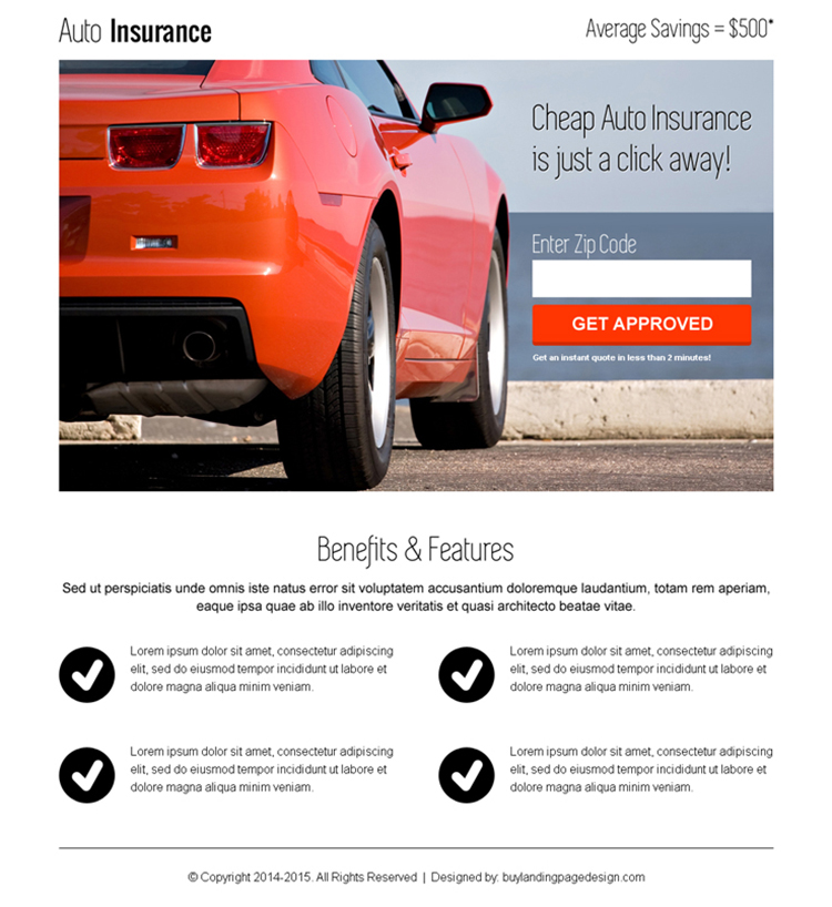 instant auto insurance zip capture clean responsive landing page
