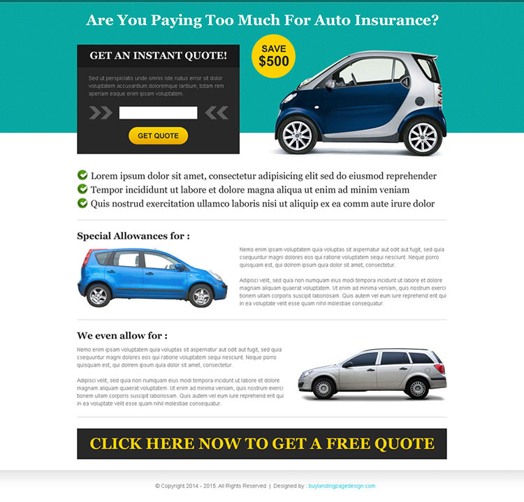 get instant quote for auto insurance landing page design