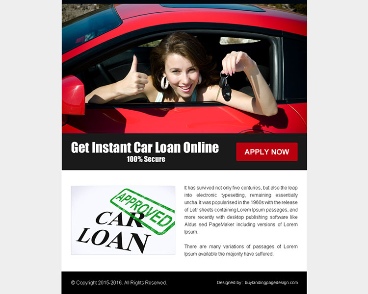Instant car loan online call to action ppv landing page design