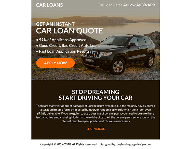 instant car loan online application ppv landing page