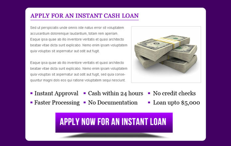 instant cash loan ppv landing page design template