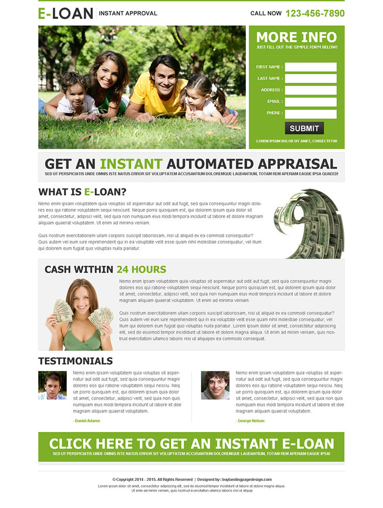 e-loan instant approval lead capture landing page design template