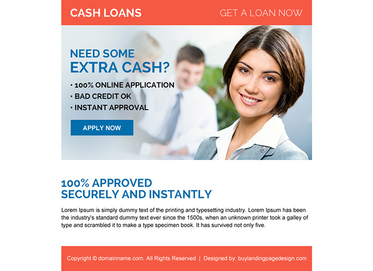 instant approval online cash loan ppv landing page design