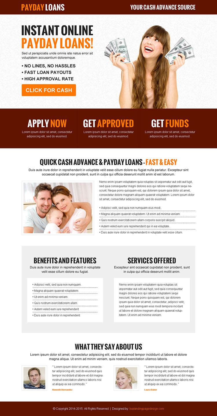 instant online payday loan call to action effective and converting landing page design template