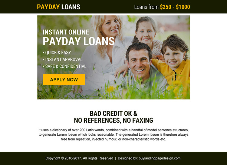 instant online payday loans minimal ppv landing page design