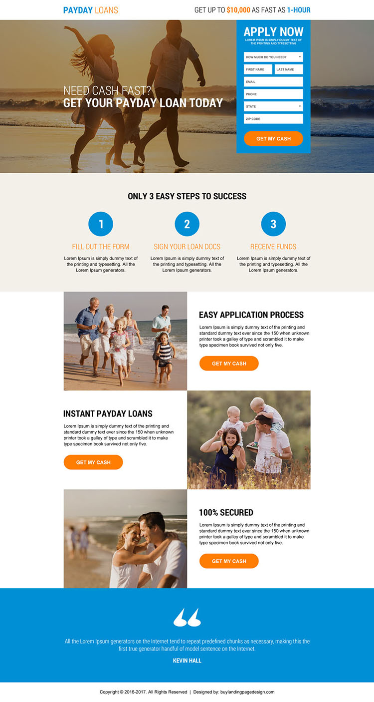 instant payday cash loan landing page design