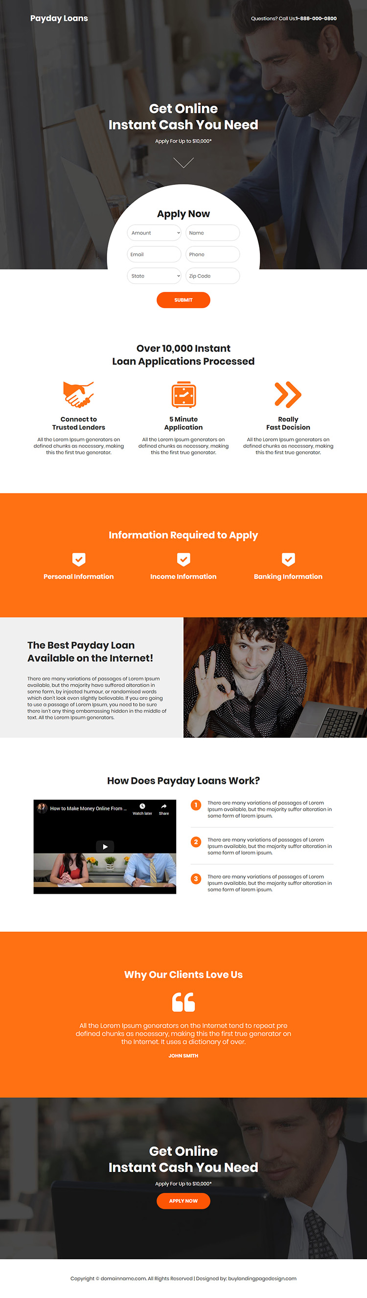instant payday cash loan online responsive landing page