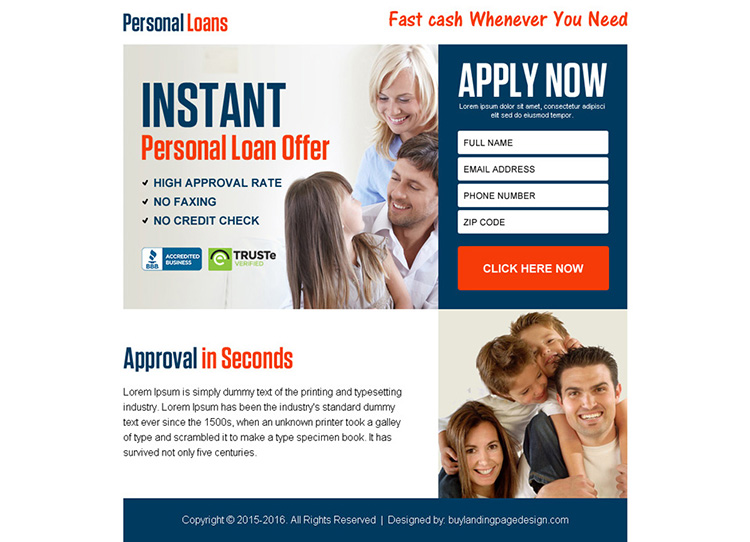 instant personal loan offer ppv landing page design