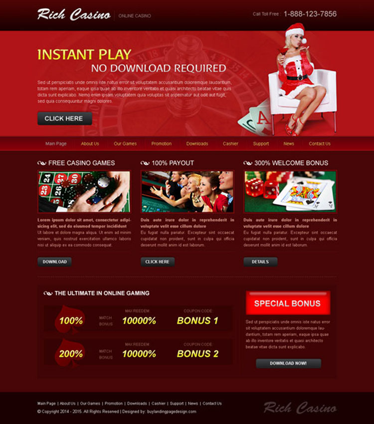 instant play rich casino attractive and appealing website template design psd to create your website