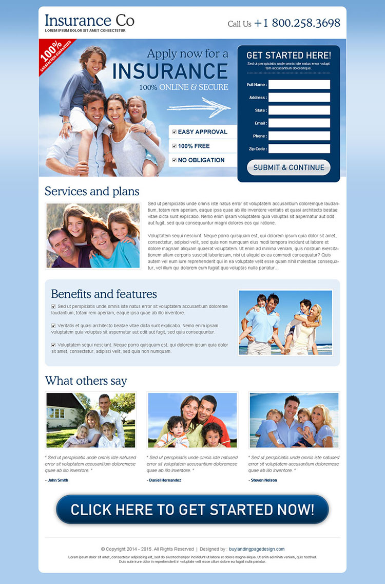 most effective and converting blue and white lead capture insurance landing page