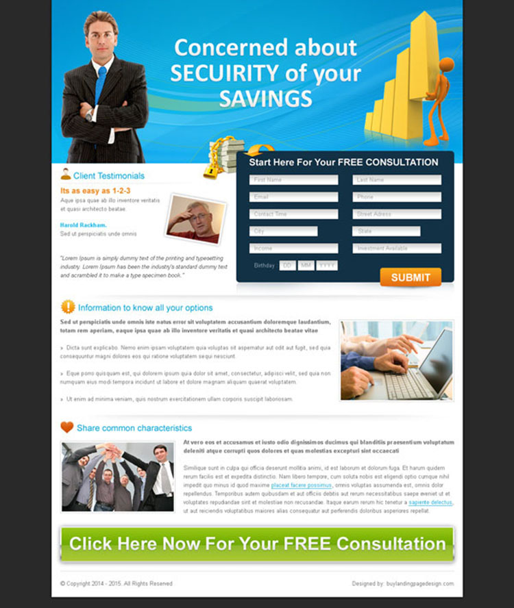 free insurance consultation landing page design for sale