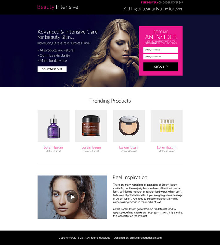 advance and intensive care beauty product landing page