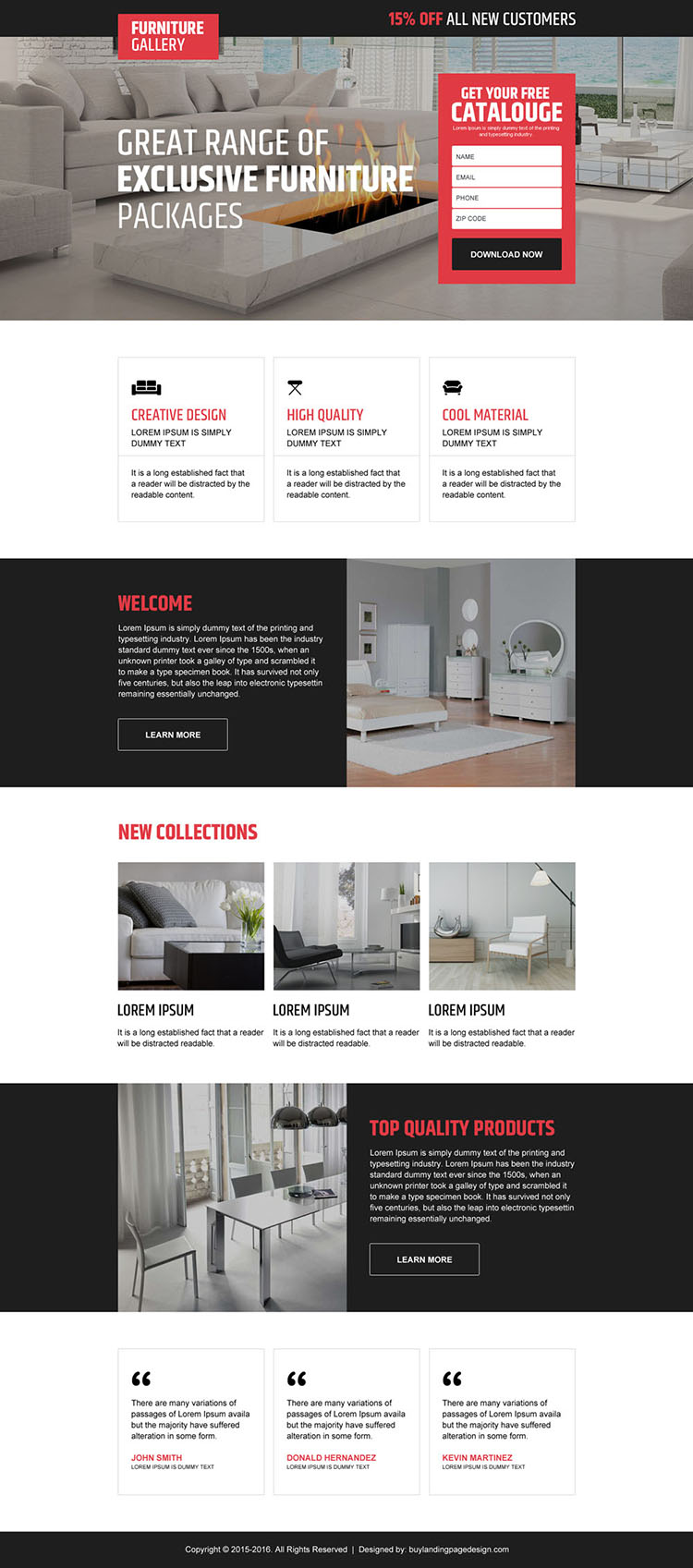 interior and furniture store converting landing page design