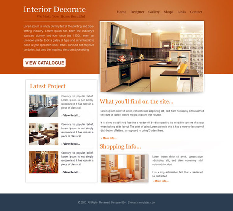 interior decorate simple and attractive website template psd