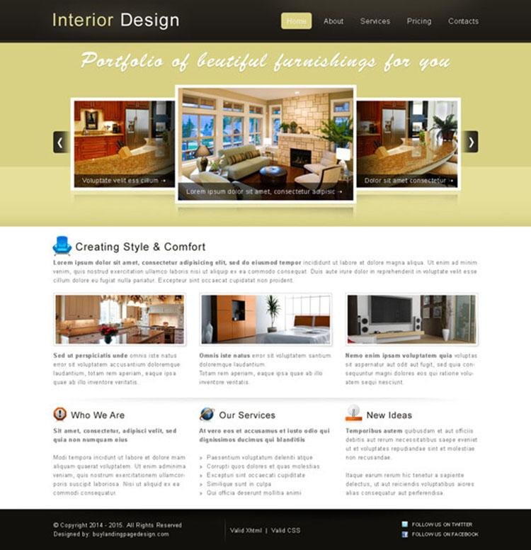 simple as well as attractive interior designing website template psd