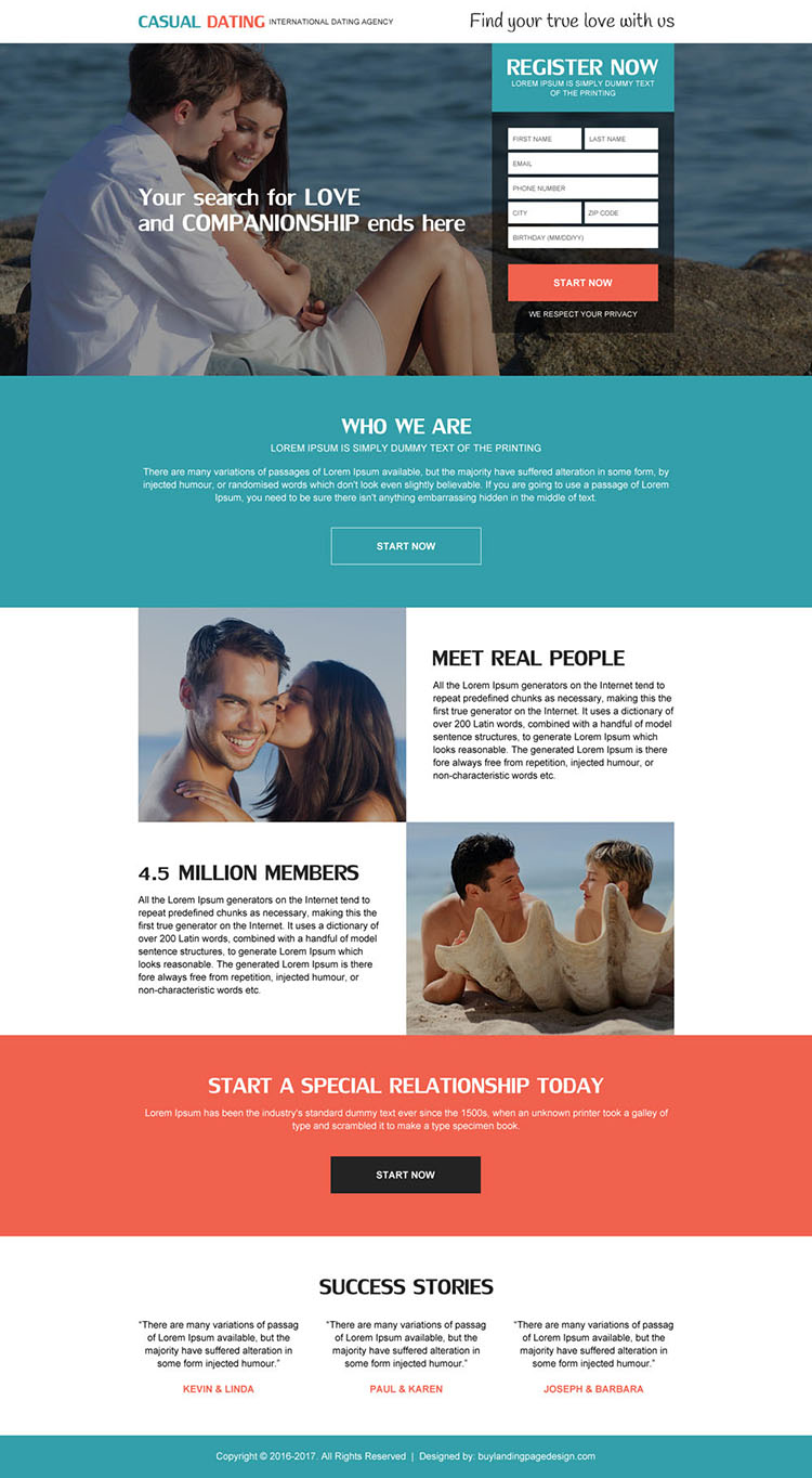 international dating agency responsive landing page design