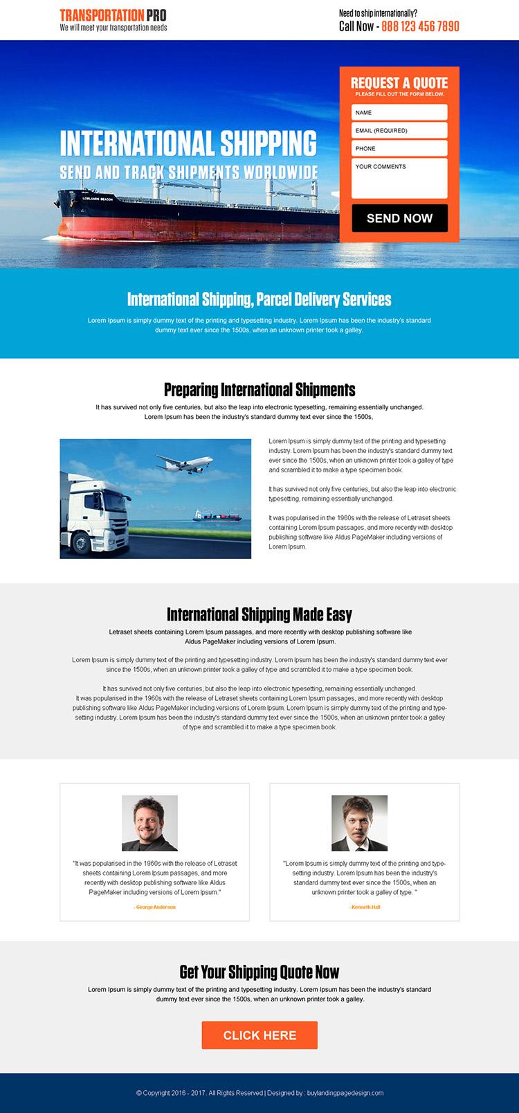 responsive international transportation service landing page