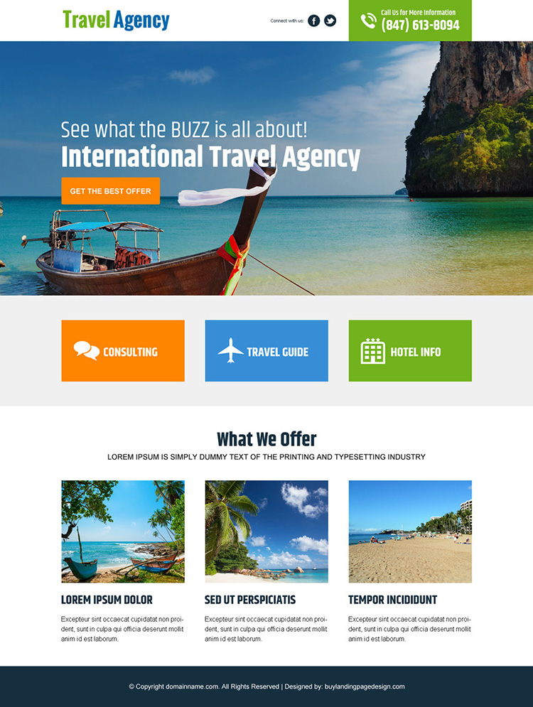 international travel agency landing page design