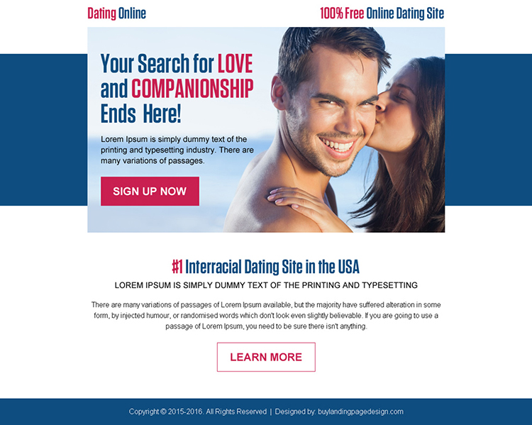love and companionship dating ppv landing page design
