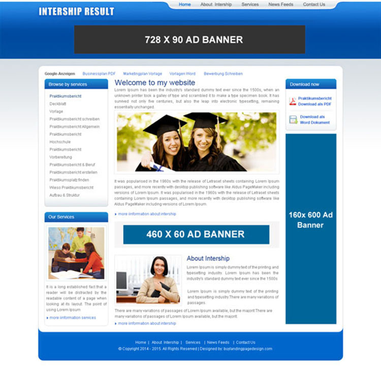internship online education website template psd to create website for your education service