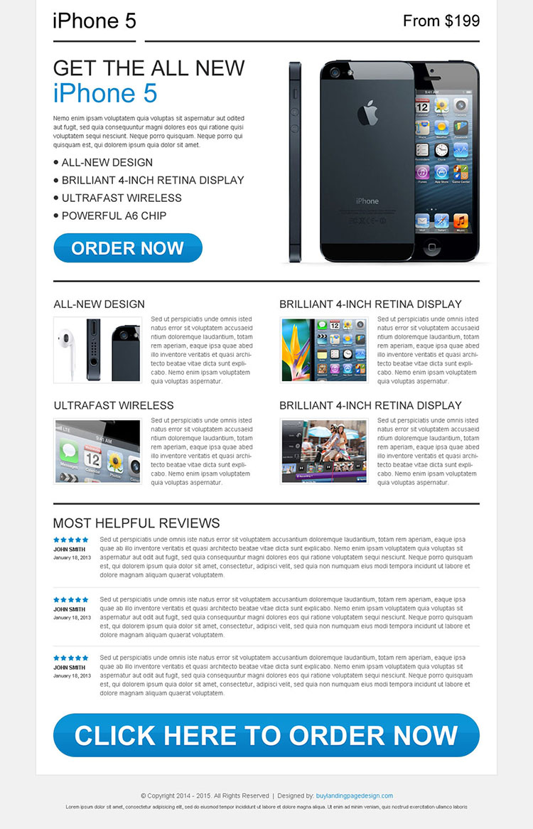 Iphone5 review call to action landing page design
