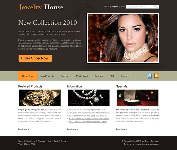 jewelry house website template design PSD