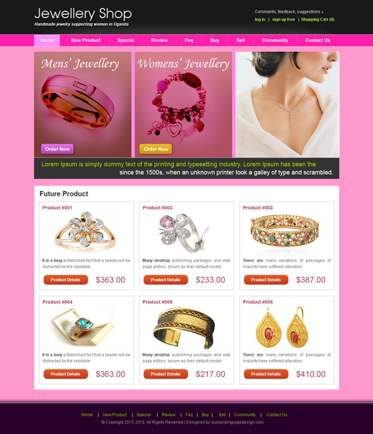 jewelry shop website template design psd for sale