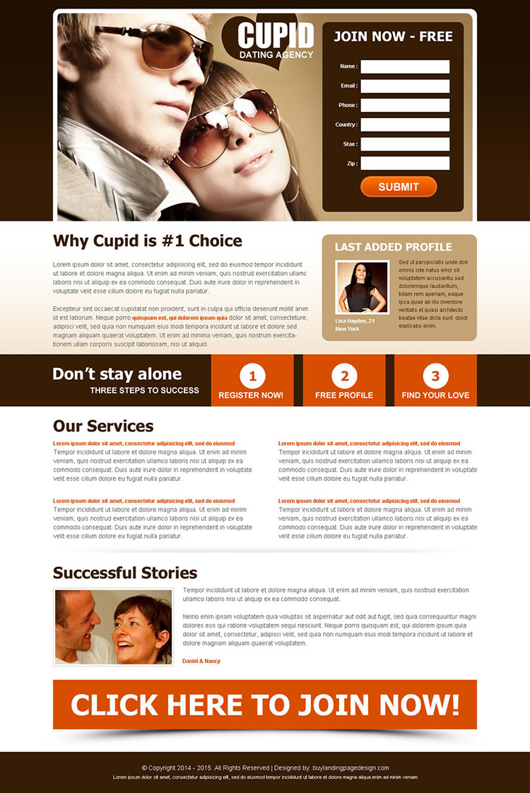 dont stay alone attractive dating lead capture landing page design