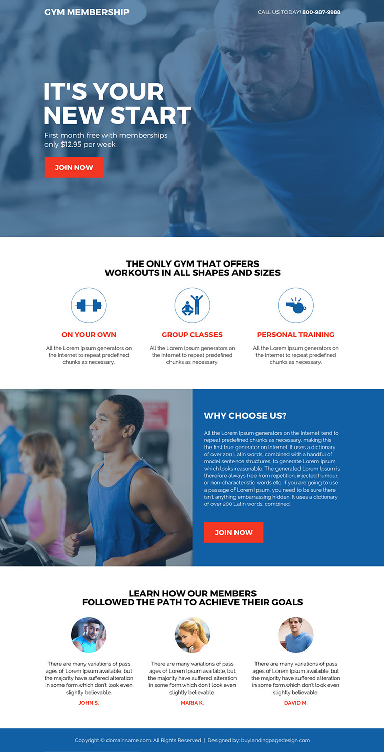 gym membership sign up capturing minimal landing page