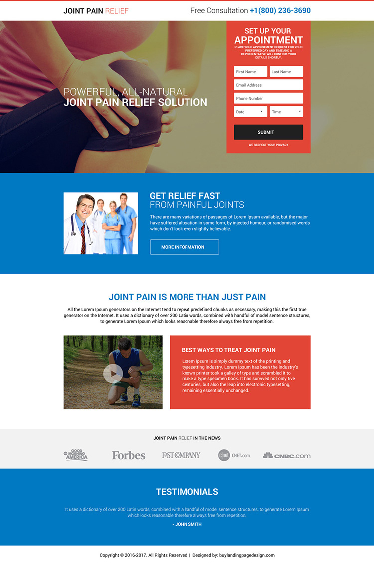 responsive joint pain relief free consultation lead capturing landing page design