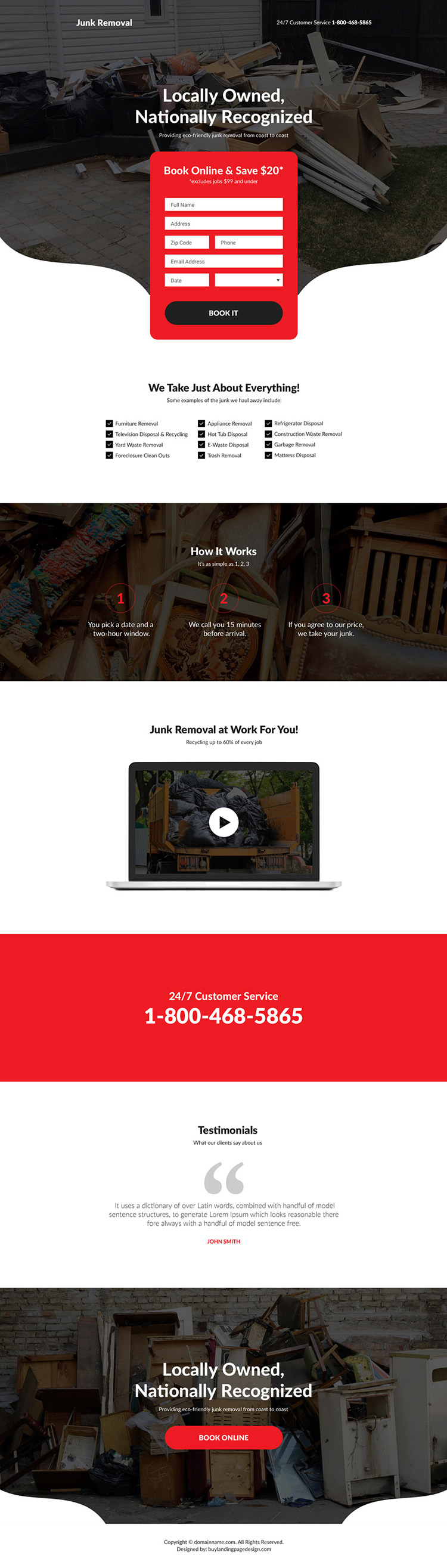 junk removal service responsive landing page design