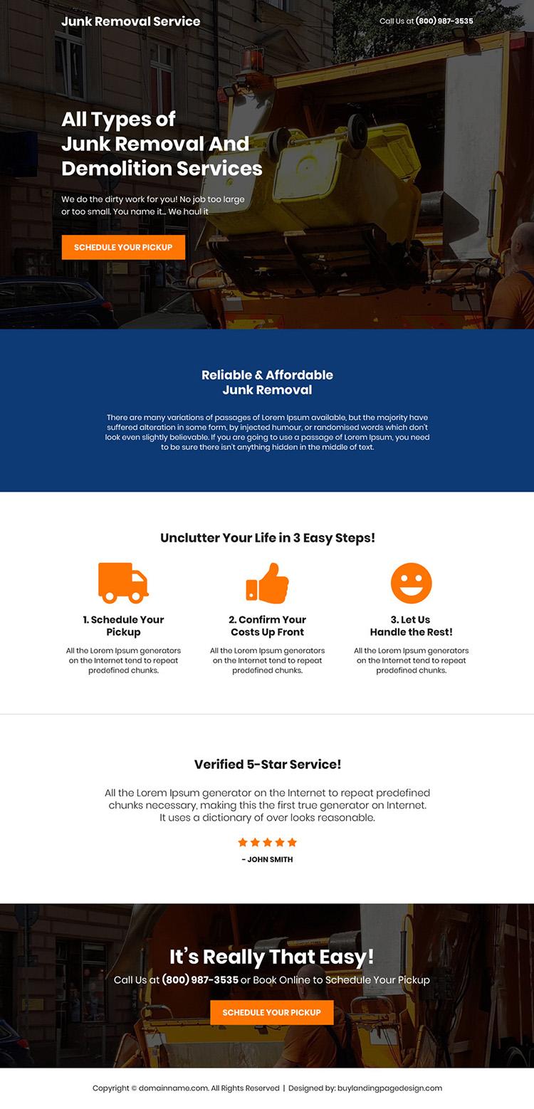junk removal and demolition service landing page design