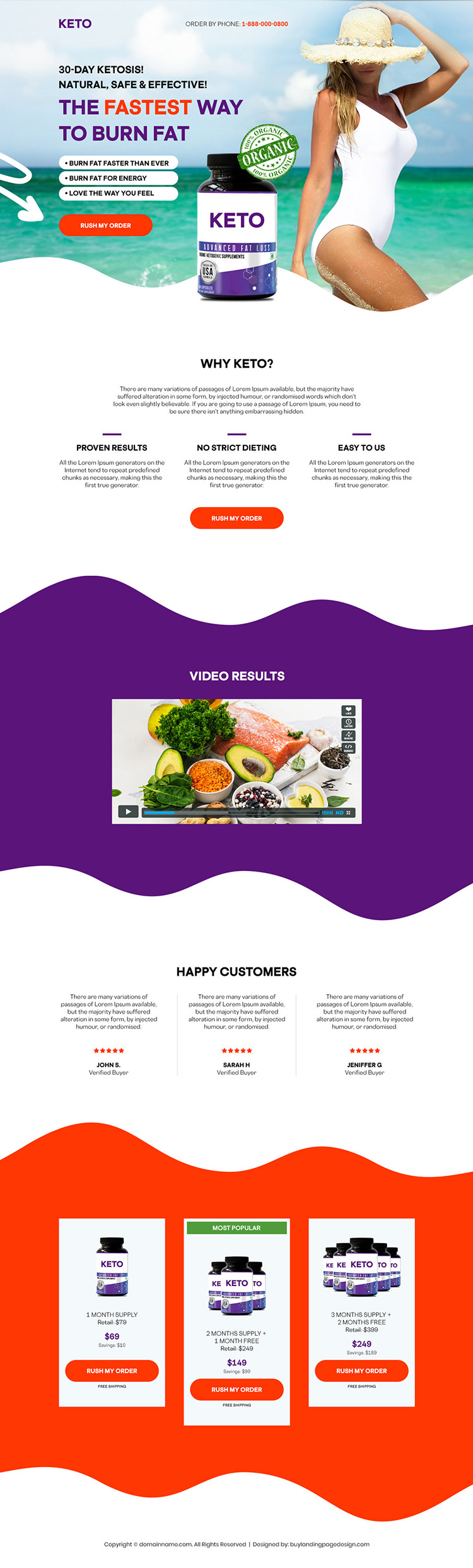 keto weight loss supplement responsive landing page design