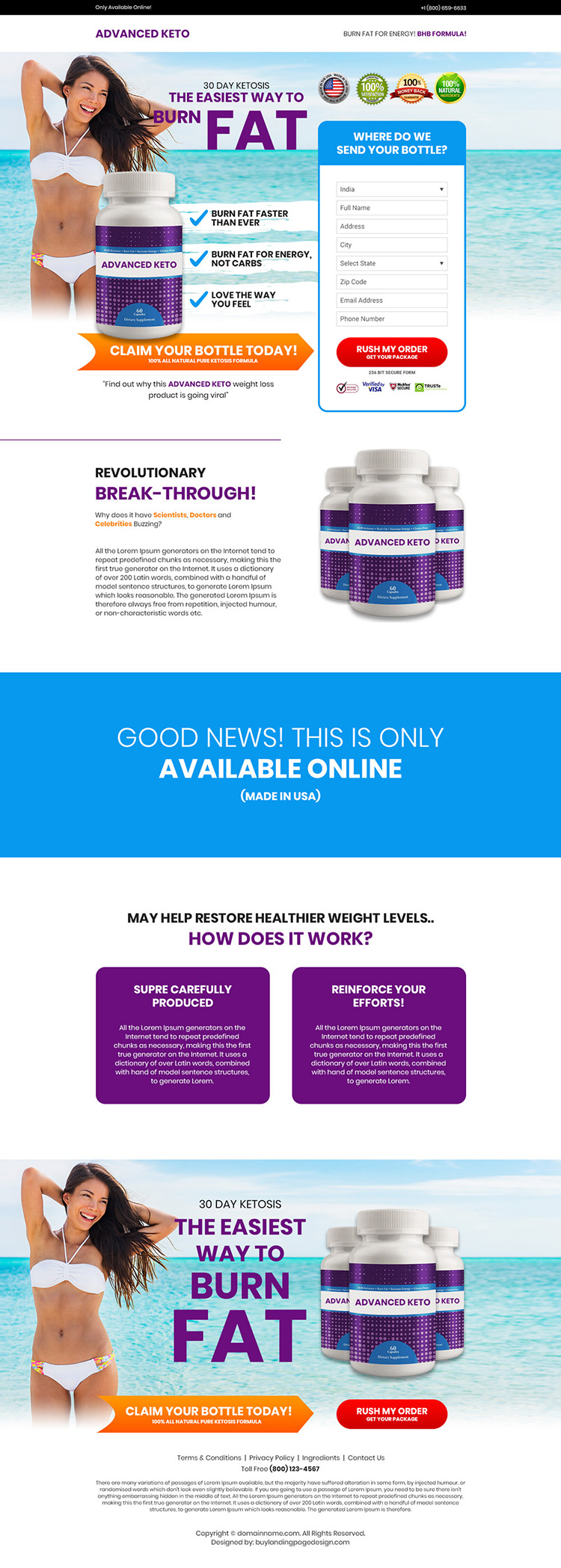 keto weight loss supplement selling bootstrap landing page design