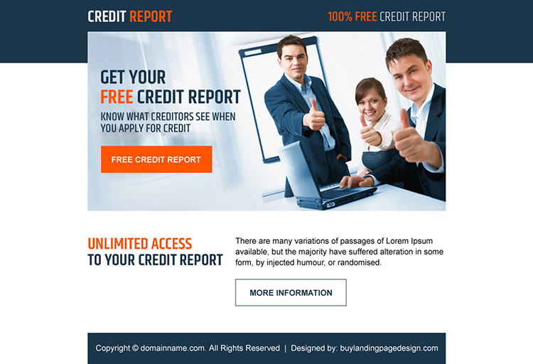 professional free credit report lead generating ppv landing page