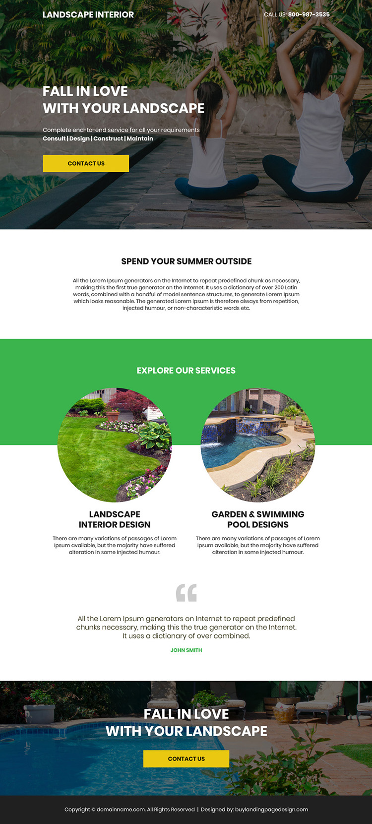 landscape design company bootstrap landing page