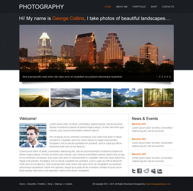 clean and effective website template design psd for photography