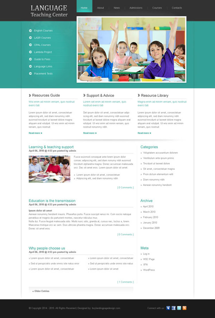 language teaching center clean and converting website template design psd