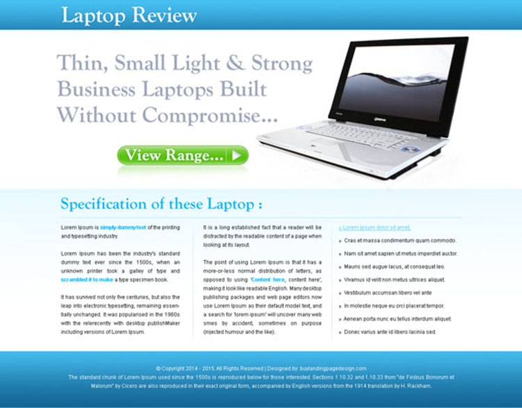 laptop digital product review landing page design for sale