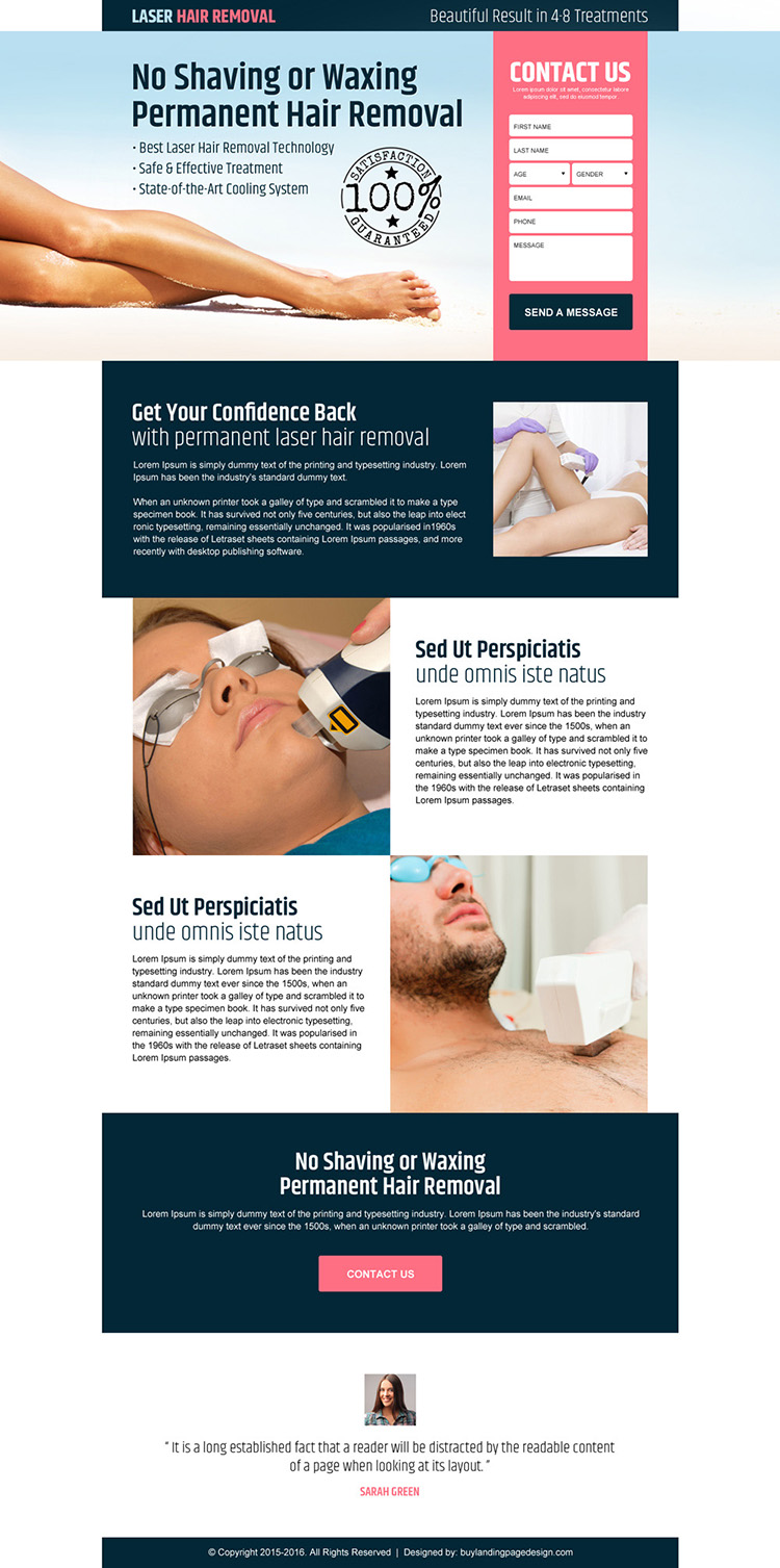 laser hair removal service lead gen landing page design