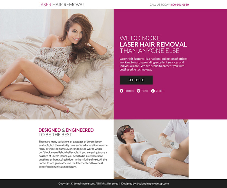 laser hair removal lead funnel responsive landing page
