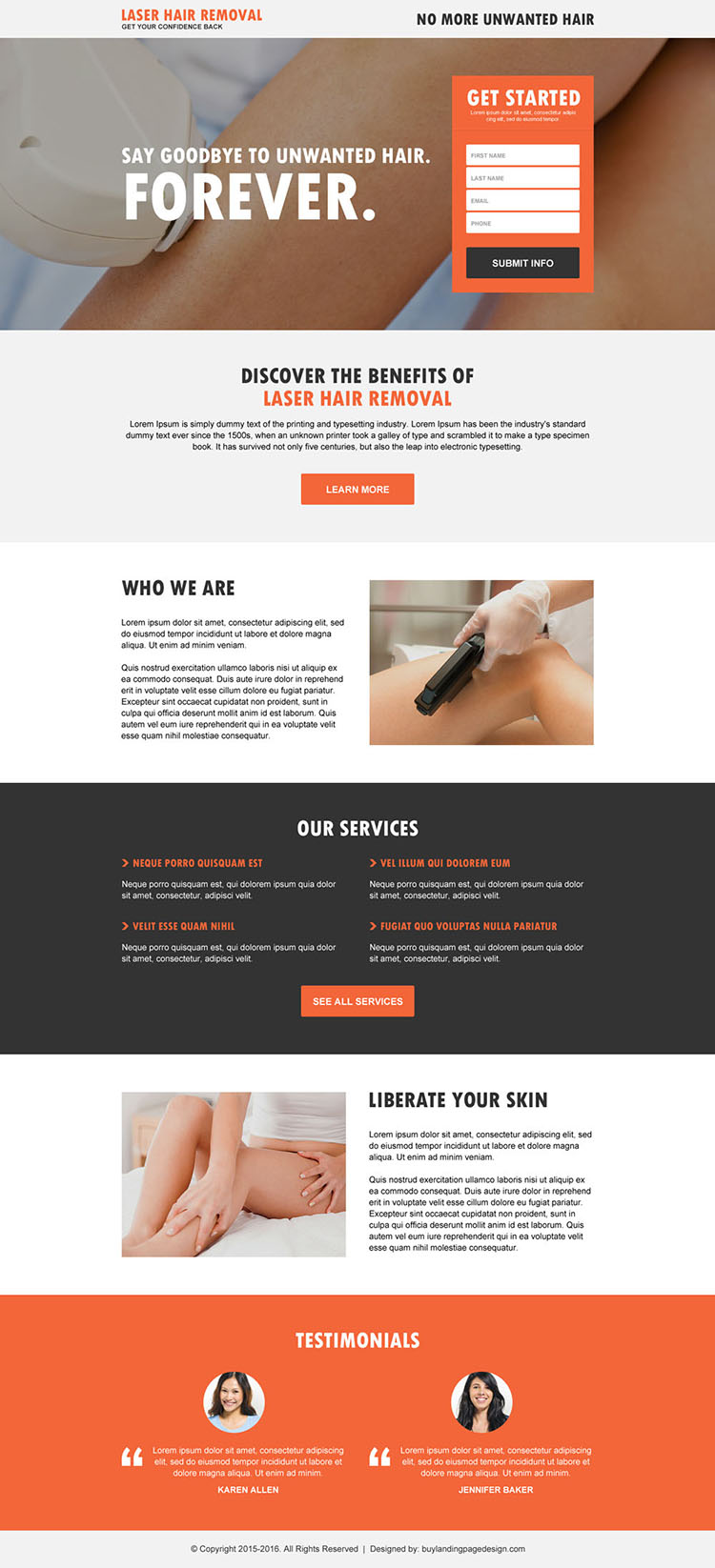 laser hair removal lead capture landing page design